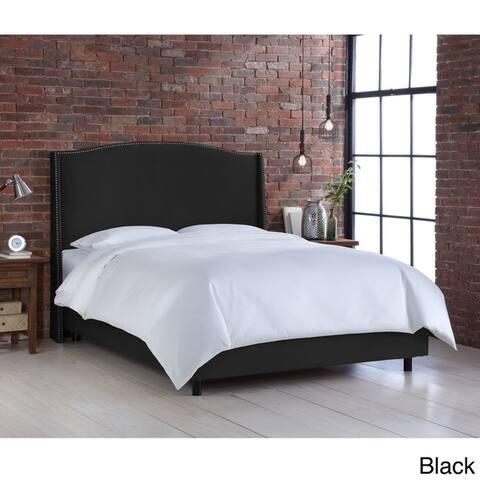 Skyline Furniture Nail Button Velvet Upholstered Wingback Bed