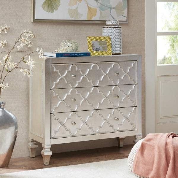 Madison Park Greyson Antique Silver 3-Drawer Chest