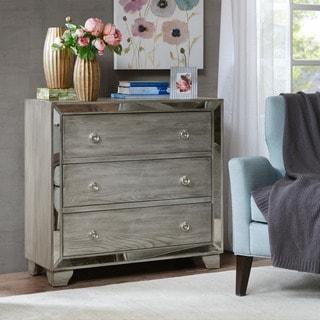 Carlton 3 Drawer Mirrored Accent Chest Free Shipping