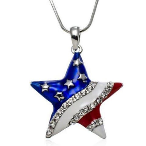 Silver Crystal American Flag Earrings Neckaces