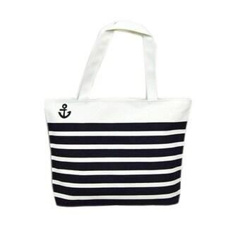 Anchor Black & White Striped Tote Beachbag Shopping Bag