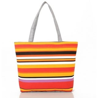 Narrow Striped Canvas Tote Beach Bag Shopping Bag