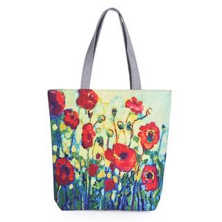Modern Art Designer Inspired Poppy Floral Canvas Tote Beach Bag Shopping Bag