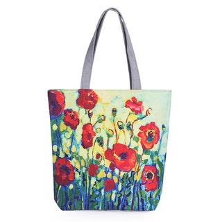 Modern Art Designer Inspired Poppy Floral Canvas Tote Beach Bag Shopping Bag - Red