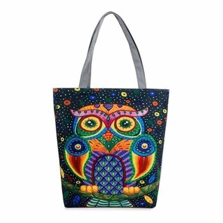 Bohemian Owl Canvas Tote - Blue