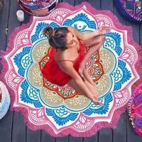 Round Bohemian Hippie Throw 60-inch Fringed Beach Throw