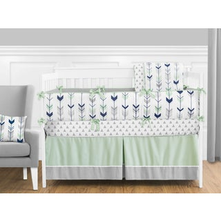 Sweet Jojo Designs Grey and Mint Mod Arrow Collection 9-piece Crib Bedding Set