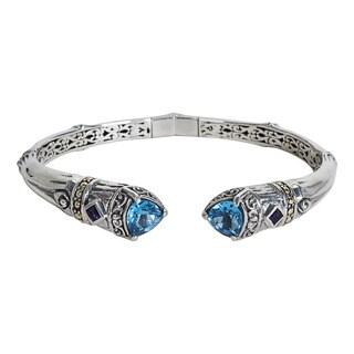 Robert Manse 18k Yellow Gold Sterling Silver 4 4/5ct Swiss Blue Topaz and Amethyst Cuff Bracelet