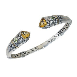 Robert Manse 18k Yellow Gold over Silver Peridot and Citrine Cuff Bracelet