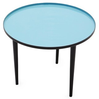 ROBINS Blue Enameled Round Side Table