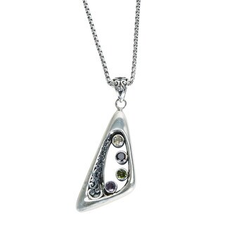 Robert Manse Sterling Silver Multi-gemstone Pendant Necklace
