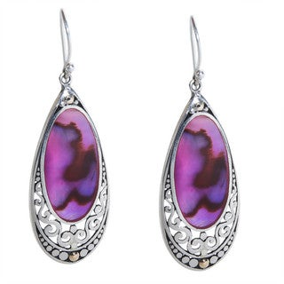 Robert Manse 18k Yellow Gold over Silver Pink Abalone Earrings