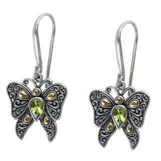 Robert Manse 18k Yellow Gold over Silver Peridot Butterfly Earrings
