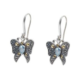 Robert Manse 18k Yellow Gold over Silver Blue Topaz Butterfly Earrings