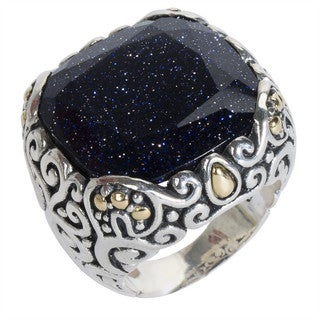 Robert Manse Sterling-silver and 18k Yellow Gold Blue 14.5ct Goldstone Ring
