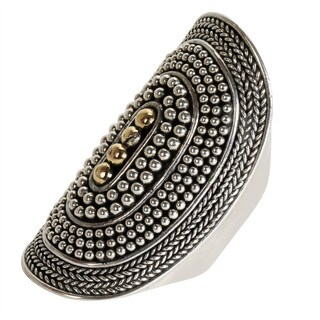 Robert Manse Sterling-silver and 18k Yellow Gold Beaded Band Ring