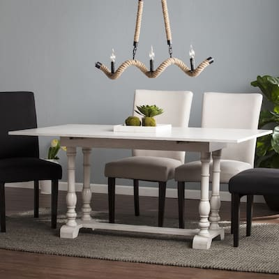 None Eddlewood Farmhouse Drop Leaf Trestle Console to Dining Table