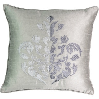 Beautyrest Chacenay Grey Faux-silk Embroidered Decorative Throw Pillow