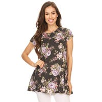 Women's Charcoal Floral Pattern Tunic