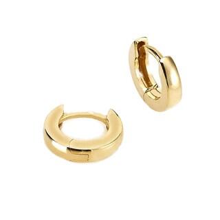 18K Gold Overlay Stainless Steel Small Hoop Earrings