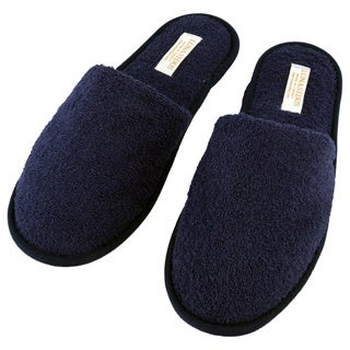 Lunasidus Navy Blue Terry Cloth Open-toe One-size Spa Slippers