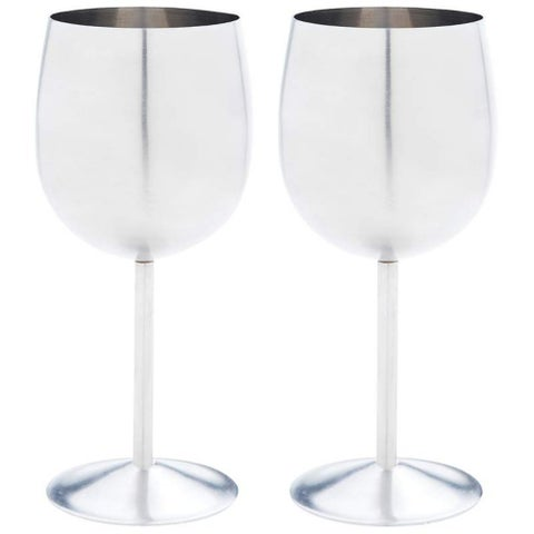Stainless Steel Wine Goblets (Set of 2)