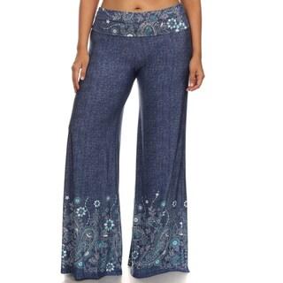 Women's Blue Denim Plus Size Palazzo Pants