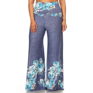 Women's Plus-size Floral Flared Pants