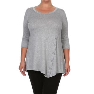 Women's Plus Size Solid Button Trim Tunic|https://ak1.ostkcdn.com/images/products/14516961/P21071881.jpg?impolicy=medium