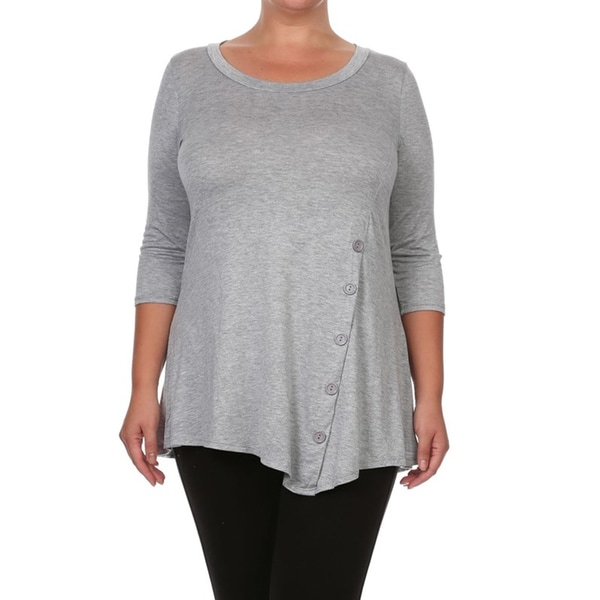 Women's Plus Size Solid Button Trim Tunic. Opens flyout.