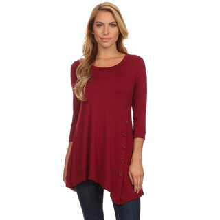 Women's Solid-colored Rayon/Spandex Button Trim Tunic|https://ak1.ostkcdn.com/images/products/14516972/P21071882.jpg?_ostk_perf_=percv&impolicy=medium