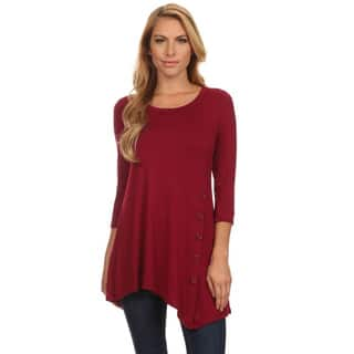 Women's Solid-colored Rayon/Spandex Button Trim Tunic|https://ak1.ostkcdn.com/images/products/14516972/P21071882.jpg?impolicy=medium