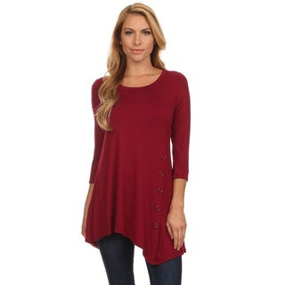 Women's Solid-colored Rayon/Spandex Button Trim Tunic
