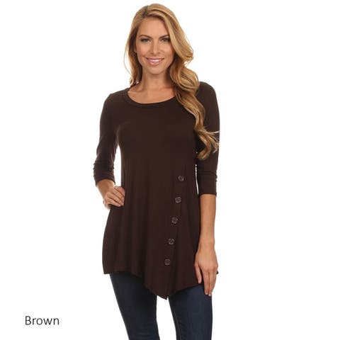 38e18cd6df Women s Casual Solid Color Button Trim Tunic Top