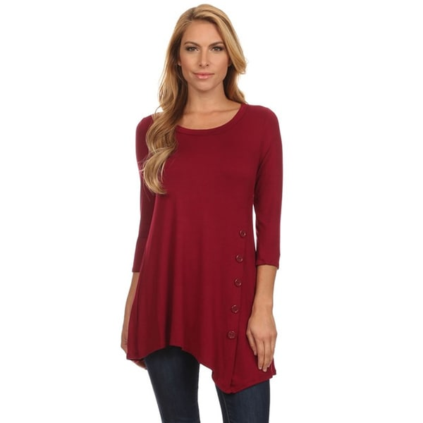 Women's Solid Rayon/Spandex Button-trim Tunic