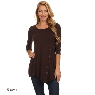 Women's Solid-colored Rayon/Spandex Button Trim Tunic (More options available)