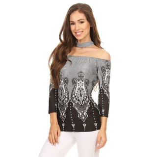 Women's Black Polyester Tapestry Top with Choker Accent|https://ak1.ostkcdn.com/images/products/14516975/P21071898.jpg?impolicy=medium