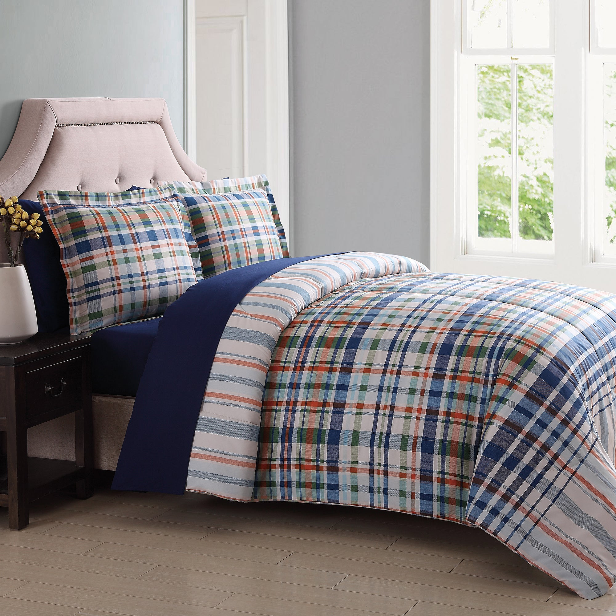 London Fog Cornwall Plaid 7 Piece Bed In a Bag Full/ Quee...