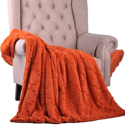 BOON Brushed Faux Fur 50 x 60-inch & 60 x 80-inch Ashley Throw with Sherpa and Borrego Backing