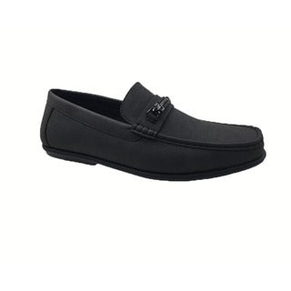 Mecca Men's Black Faux-leather Slip-on Loafer Driver Shoes