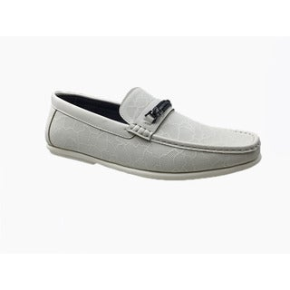 Mecca Men's White Faux Leather Slip-on Loafer Driver Shoes