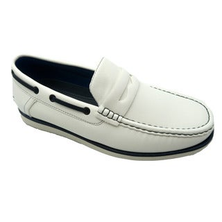 Mecca Mens White Faux Leather Slip-on Loafer Driver Shoes