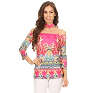 Women's Multicolor Tapestry Off-shoulder Top with Choker Accent