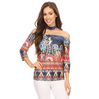 Women's Multicolor Tapestry Top with Choker Accent