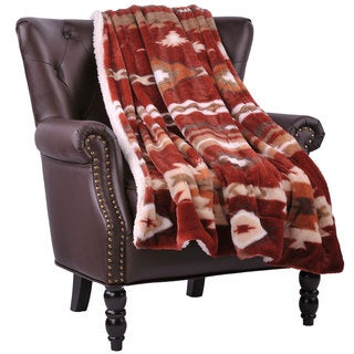 BOON Faux Fur Southwest Throw with Sherpa Backing