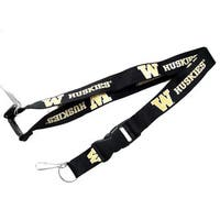 NCAA Washington Huskies Black Clip Lanyard Keychain Id Holder