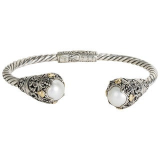 Robert Manse Sterling-silver and 18k Yellow Gold White Mabe Pearl Leaf Accents Cuff