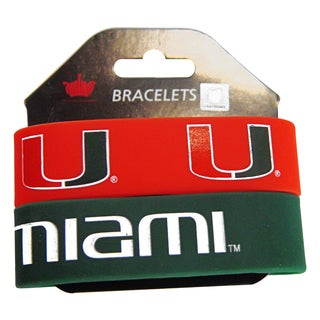 NCAA Miami Hurricanes Silicone Rubber Wrist Band (Set of 2)