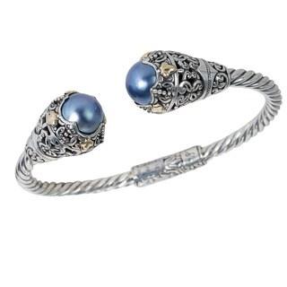 Robert Manse Sterling Silver 18k Leaf Accents Blue Mabe Pearl Bracelet