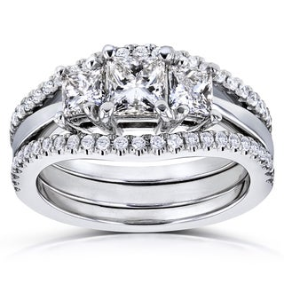 Annello by Kobelli 14k White Gold 1 1/4ct TDW Diamond 3 Stone Princess Bridal Set